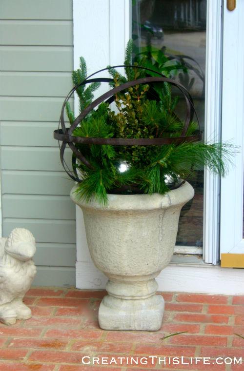 Christmas urns with greenery