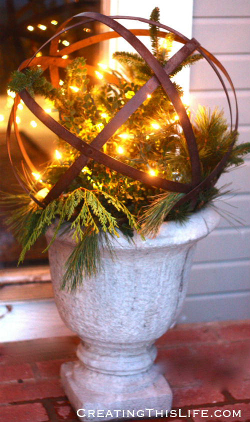 Lighted Christmas Urn