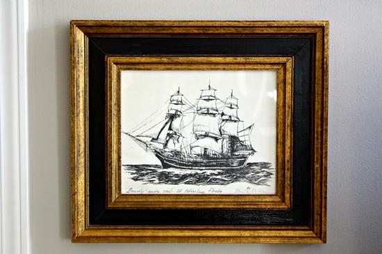 Framed ship print