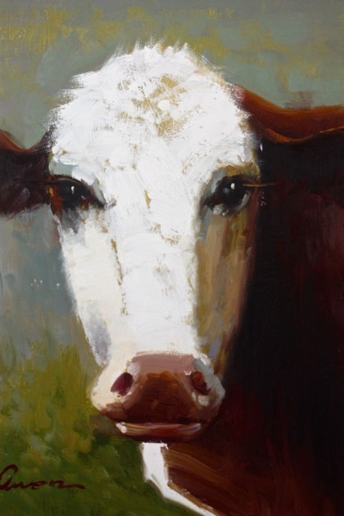 cow oil painting closeup