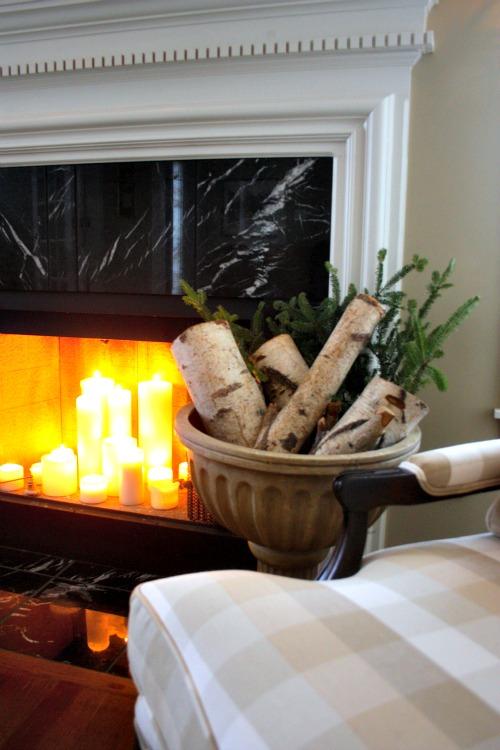 Birch logs and Christmas greenery
