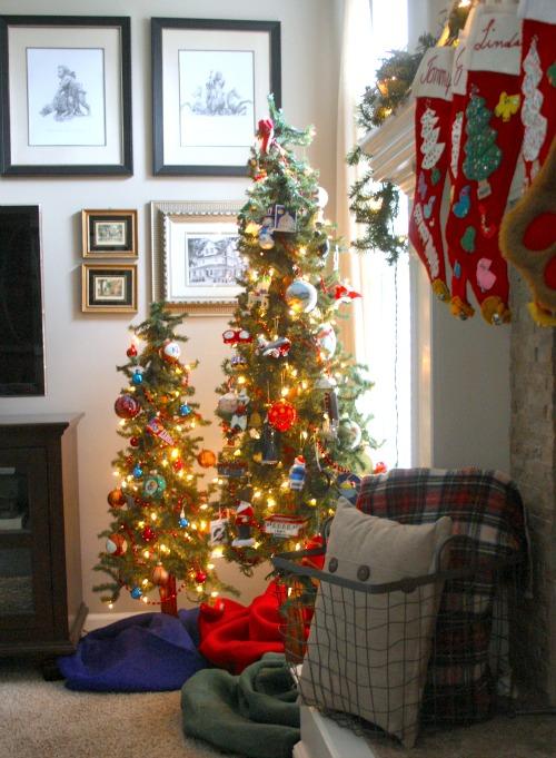 Christmas trees and stockings