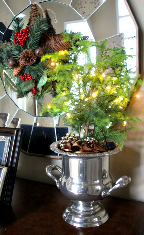Mini Christmas Tree in silver champagne bucket