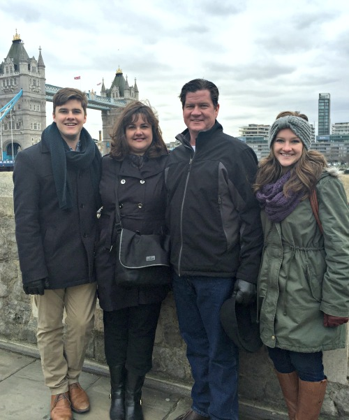 Family in front of Tower Bridge