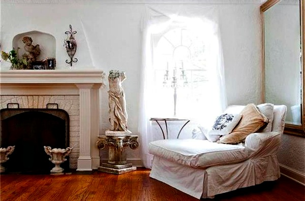french inspired living room in whites