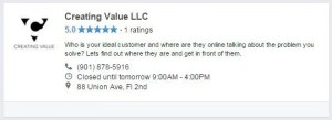 Creating Value LLC Facebook Professional Services