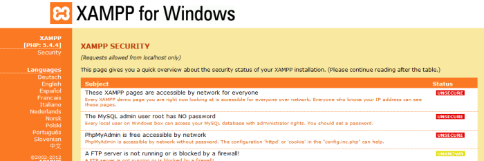 XAMPP for Windows   Security Section-183907