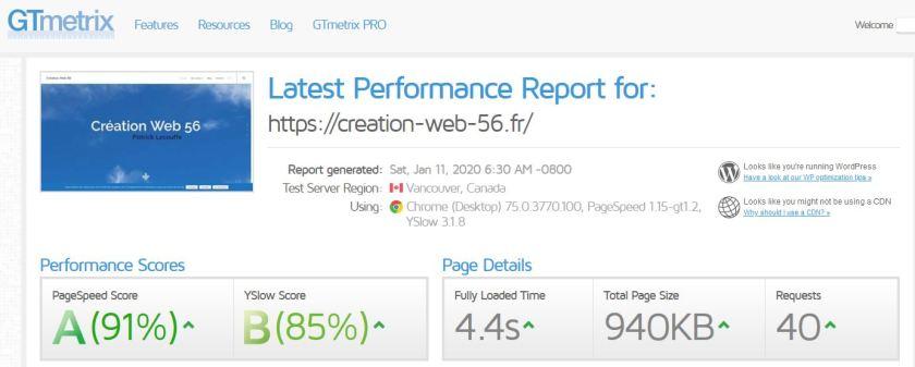 Analyse vitesse site web Création web 56 (Morbihan)
