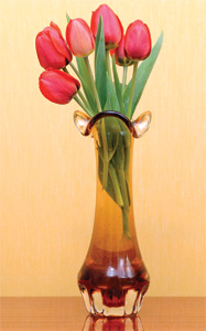 A vase of flowers: the vase clearly shows design; surely the flowers do much more so