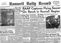 Primeira página do Roswell Daily Record. 8 julho 1947