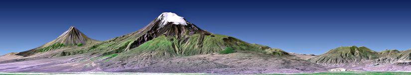 Mount Ararat, Turkey, Perspective with Landsat Image Overlay
