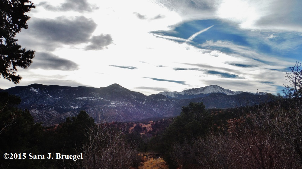 Mountains from Colorado Springs.  Photo copyright Sara J. Bruegel 2015