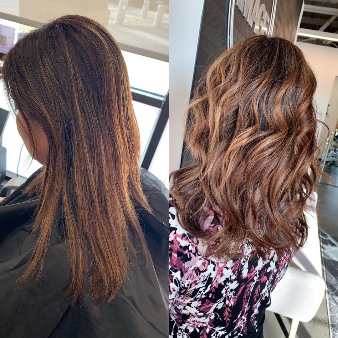 Hair cut and balayage before and after, keune color and oligo blacklight