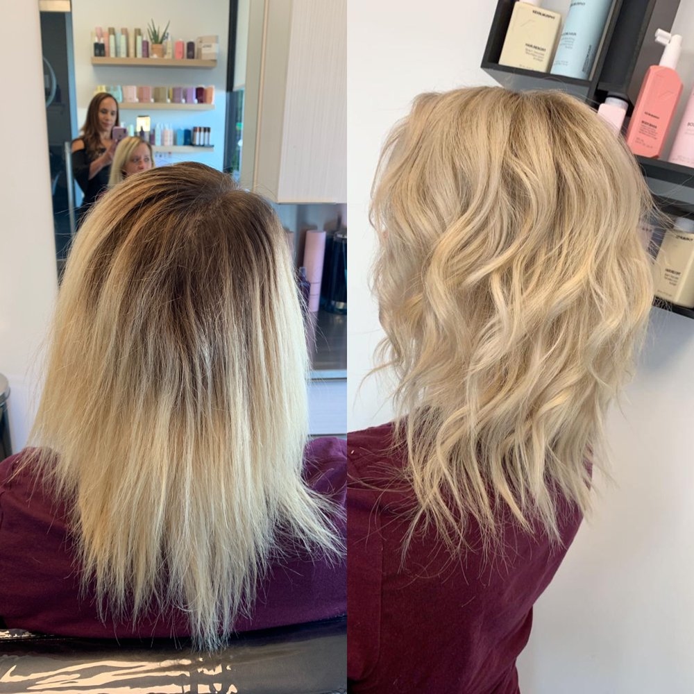 Before and after Highlight and haircut in Greenville SC.