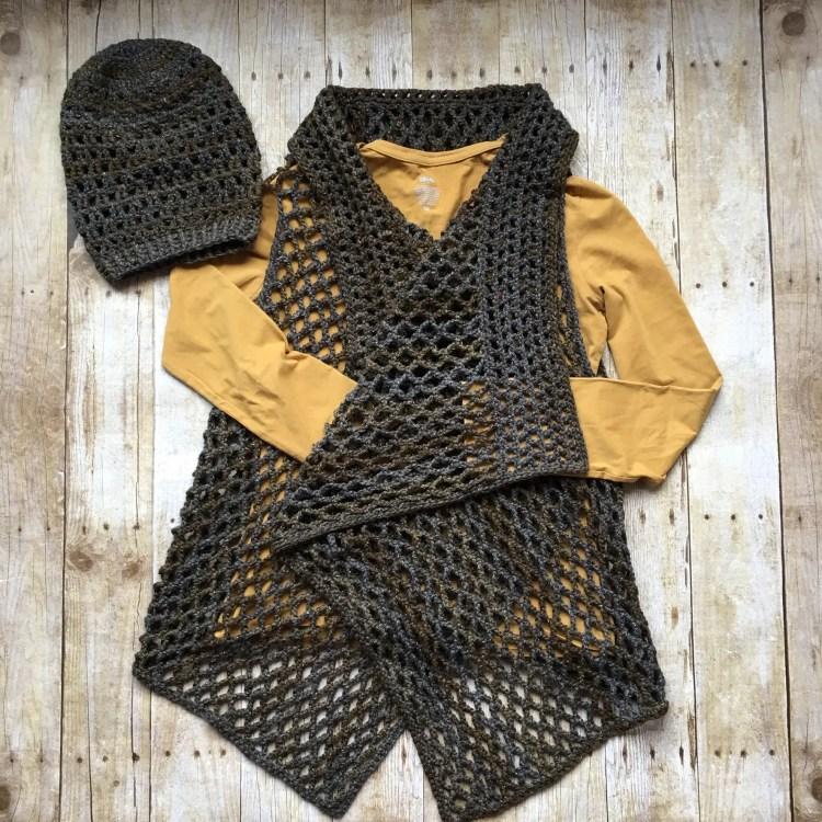 Draped in Diamonds Vest crochet pattern