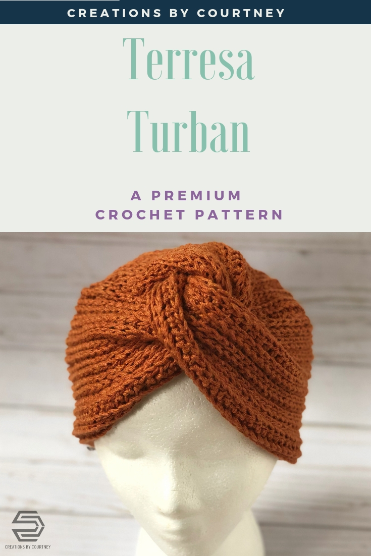 The Terresa Turban is a crochet pattern using half double crochet in the 3rd loop to create amazing texture for a unique hat.