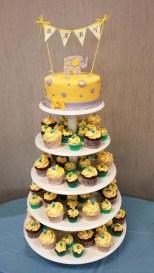 Gâteau 7 pouces à la vanille, 48 mini cupcakes (vanille et chocolat) 30 cupcakes (vanille/chocolat) recouverts de glaçage meringue Suisse à la vanille et décorées avec des suces en bonbons.