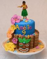 Gâteau 2 étages : 8 pouces au chocolat et 6 pouces à la vanille avec glaçage crème au beurre vanille/oreo. Recouvert de fondant à la guimauve, fleurs et masque en pastillage. Figurine en plastique.