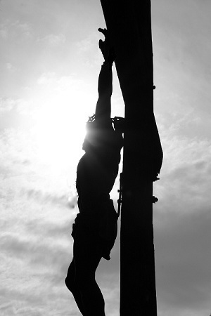 Silhouette of Jesus on the cross