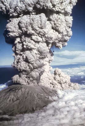 Mount St Helens erupting, photo credit, NASA