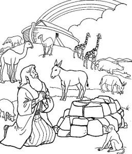 Hand drawn Noah praying with rainbow and ark