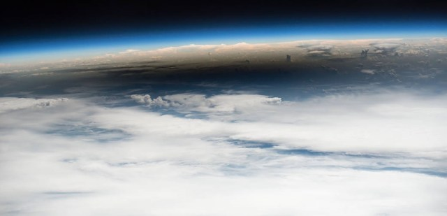 View of the solar eclipse shadow (umbra) from the ISS