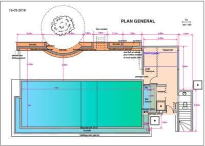 Plan général piscine débordement 22 mètres linéaires