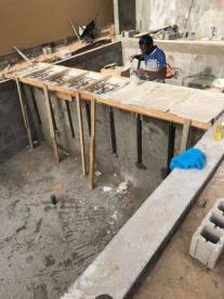 Coffrage pas japonais piscine débordement Nouakchott Mauritanie