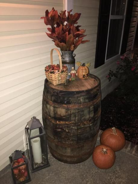 """Our """"new to us"""" wine barrel!!!!"""
