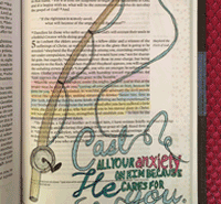 """CBJ Bible Page, 1 Peter 5:7, """"Cast all your Anxiety on Him"""""""