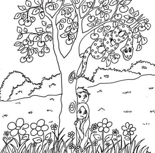 Adam Coloring Page Adama Eve