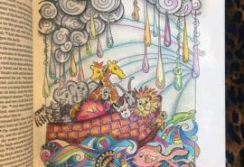 Illustration of Noah's ark floating in the rain