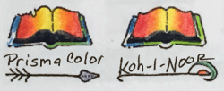 Photograph Comparing the difference between blending Prismacolor colored pencils or Koh-I-Noor Woodless colored pencils using no special methods or techniques.