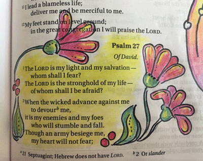 #Psalm 27 - Example of in-line art in Bible journaling