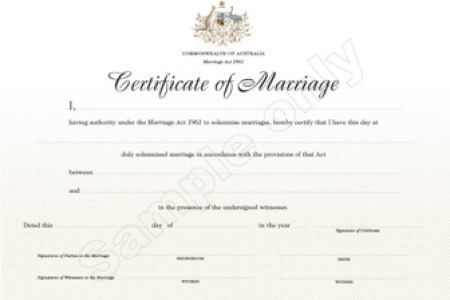 Couple's marriage certificate at the end of the ceremony process