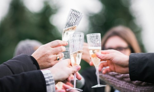 Champagne toast at a renewal of vows ceremony