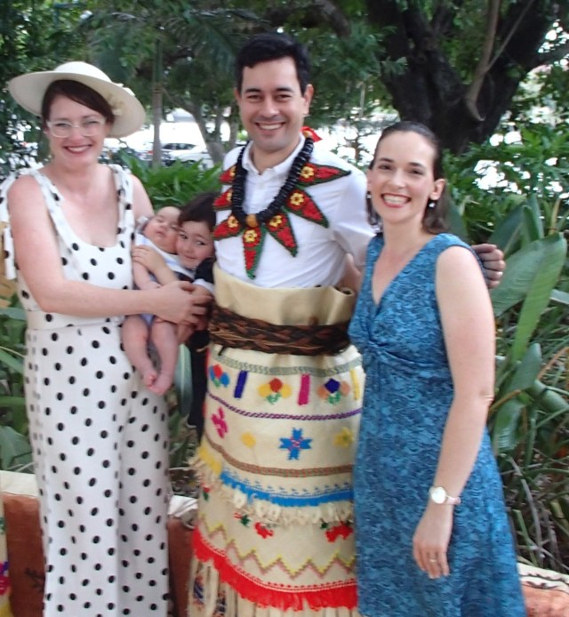 Marriage ceremony with groom in traditional Tongan dress