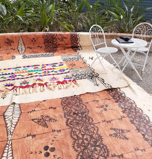 Marriage ceremony space decorated with Tongan Tapa cloth