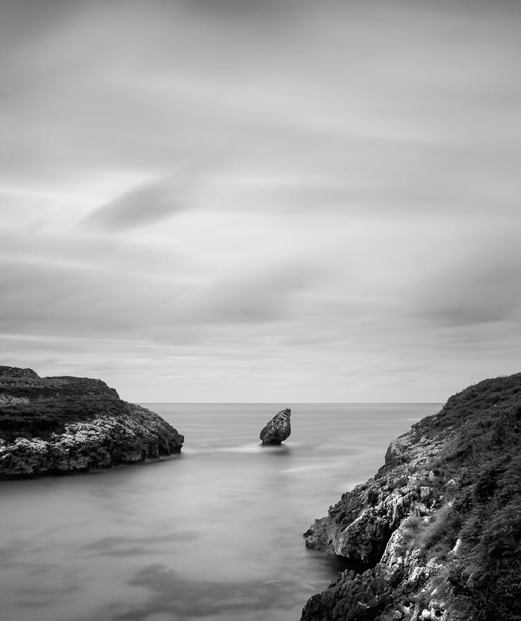 Black & white landscape photo taken in Asturias, Spain