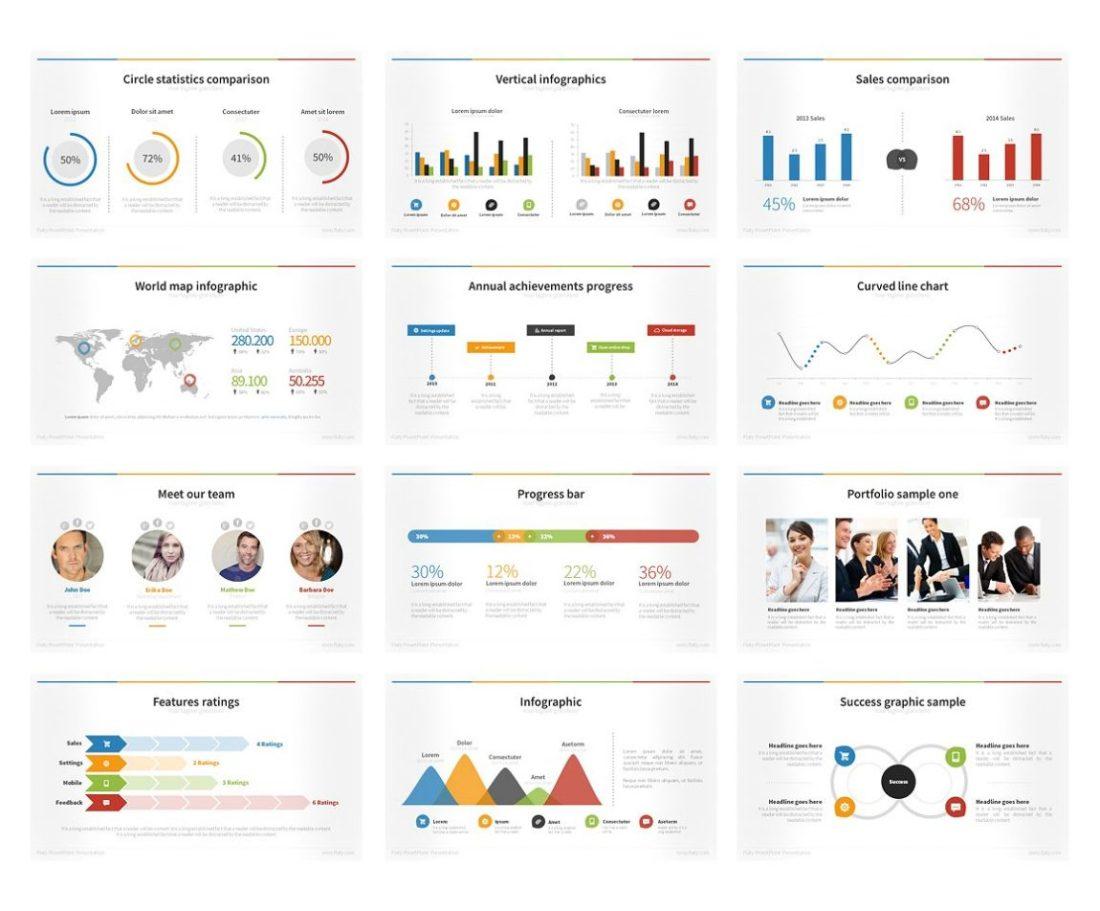 Flat Powerpoint presentantion bundle