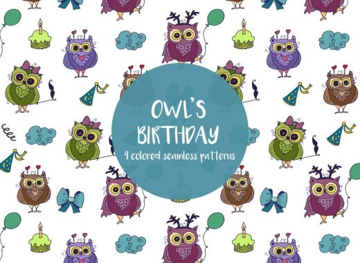 Owl's Birthday Illustration Vector Free Pattern