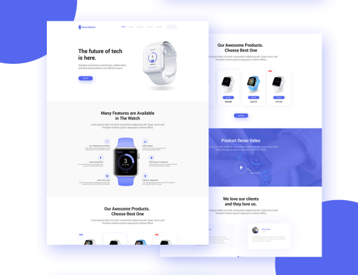 Free Product Presentation Landing Page PSD