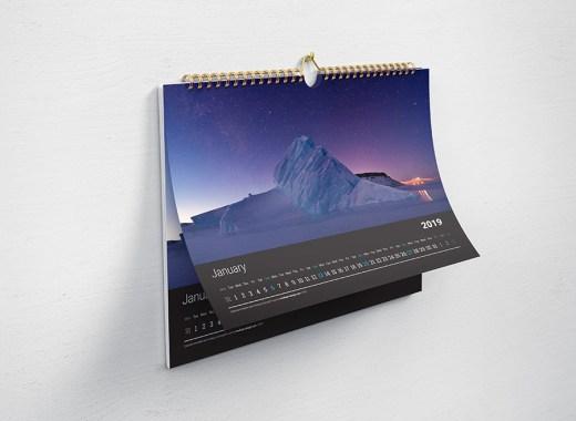 Horizontal Wall Calendar Mockup