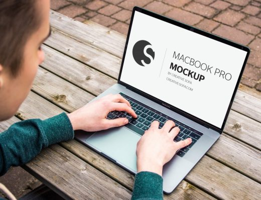 Men Working Macbook Pro Mockup