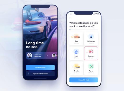 free car rental app ui kit