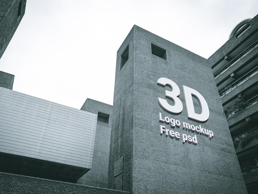Free 3D Building Logo Mockup PSD