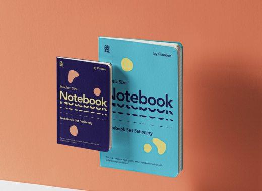 floating notebook mockup free psd