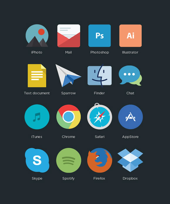 free flat app iconset