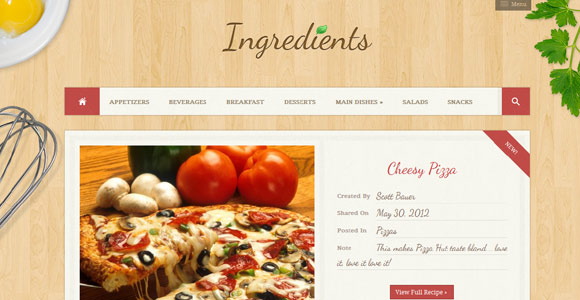Ingredients - A Fresh Recipe WordPress Theme