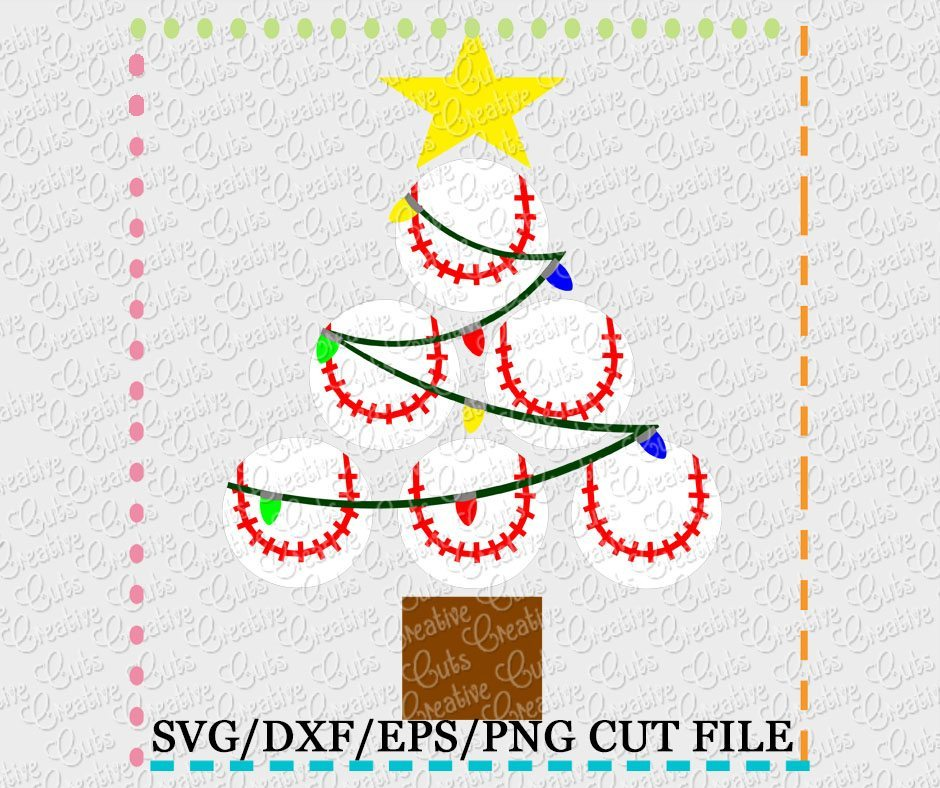 Free svg files to download. Baseball Softball Christmas Tree Cut File Svg Dxf Eps Creative Appliques